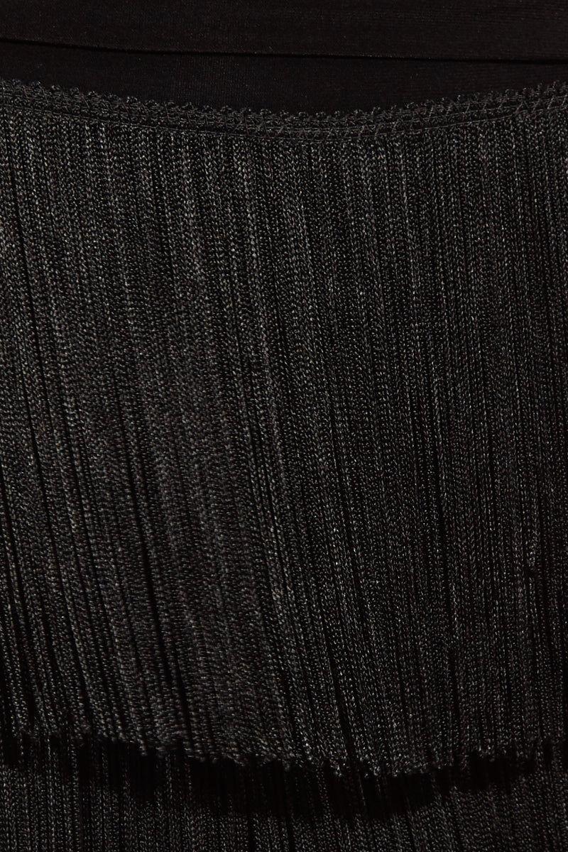 NORMA KAMALI Boot Pant All Over Fringe - Black Pants | Boot Pant All Over Fringe - Black