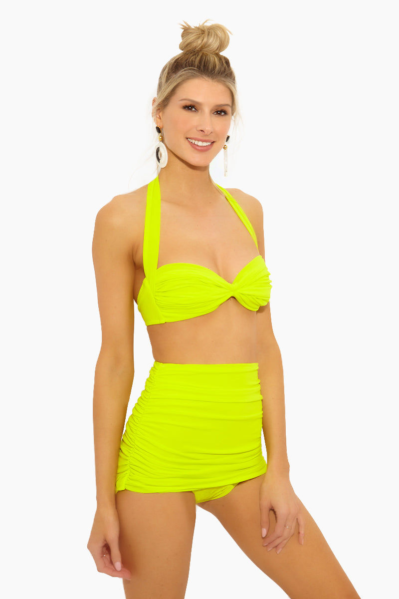 NORMA KAMALI Bill High Waist Bikini Bottom - Acid Bikini Bottom | Acid| Norma Kamali Bill High Waist Bikini Bottom - Features:  High waist Bikini brief Shirred sides Double layer Low cut leg Full coverage Great for curves Wrinkle free Fully lined Side View