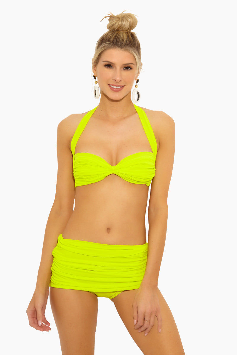 NORMA KAMALI Bill High Waist Bikini Bottom - Acid Bikini Bottom | Acid| Norma Kamali Bill High Waist Bikini Bottom - Features:  High waist Bikini brief Shirred sides Double layer Low cut leg Full coverage Great for curves Wrinkle free Fully lined Front View
