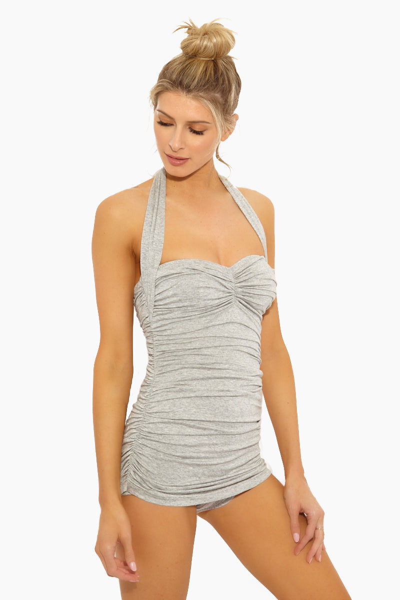 NORMA KAMALI Bill Mio One Piece Swimsuit - Light Grey One Piece | Light Grey| Norma Kamali Bill Mio One Piece Swimsuit - Features:  Halter strap one piece  Sweetheart neckline Great for curves Shirred sides High cut leg Full bottom coverage Wrinkle free Side View
