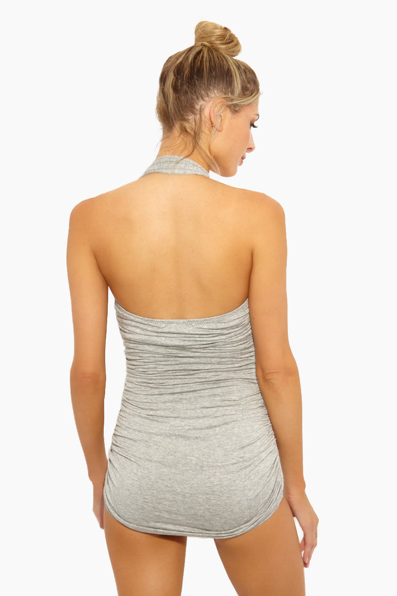 NORMA KAMALI Bill Mio One Piece Swimsuit - Light Grey One Piece | Light Grey| Norma Kamali Bill Mio One Piece Swimsuit - Features:  Halter strap one piece  Sweetheart neckline Great for curves Shirred sides High cut leg Full bottom coverage Wrinkle free Back View