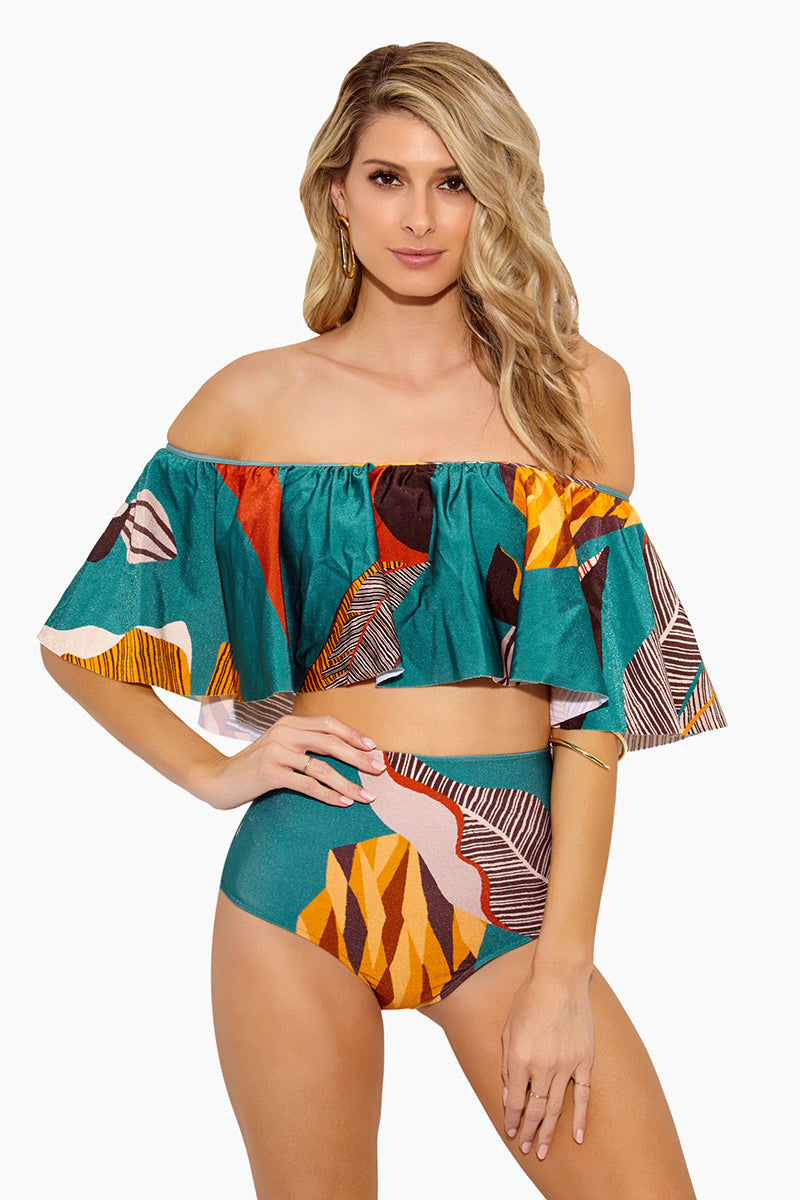 ADRIANA DEGREAS Bahiana Off The Shoulder Bikini Top - Blue Heritage Bikini Top | Blue Heritage| Adriana Degreas Bahiana Off The Shoulder Bikini Top - Blue Heritage Features:  Off the shoulder bikini top Strapless style with elastic band Tropical print on sophisticated teal color in Blue Heritage  Flounce ruffle details  Made in Brazil Front View