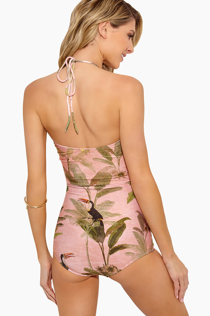 ADRIANA DEGREAS Toucan Strapless One Piece Swimsuit - Rose Salmon One Piece | Rose Salmon|Adriana Degreas Toucan Strapless One Piece Swimsuit - Rose Salmon Features:  Halter One piece Adjustable string halter neck Scrunch detail at middle Tummy control Tropical print in rose salmon color Moderate to full coverage Back View