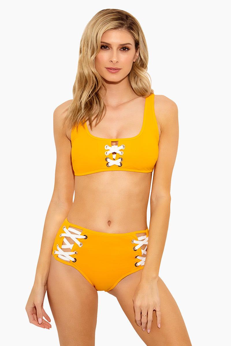 050b96cd37 DEREK LAM 10 CROSBY Lace Front Sporty Scoop Neck Bikini Top - Tangerine  Bikini Top ...