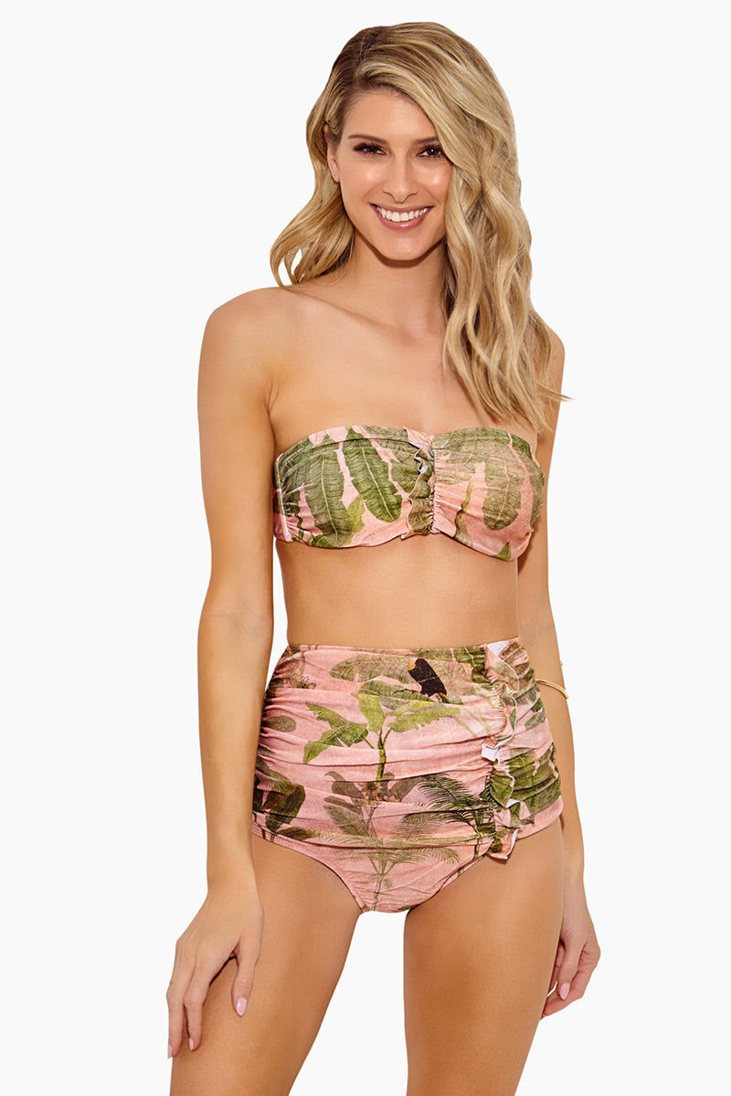 ADRIANA DEGREAS Toucan High Waisted Scrunch Bikini Bottom - Rose Salmon Bikini Bottom | Rose Salmon| Adriana Degreas Toucan High Waisted Scrunch Bikini Bottom - Rose Salmon Features:  High waisted bikini bottom Scrunch with little ruffle detail at front  Tummy control Tropical print in rose salmon color Moderate to full coverage Front  View