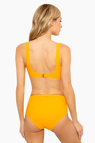 DEREK LAM 10 CROSBY Side Laced High Waist Bikini Bottom - Tangerine Bikini Bottom | Tangerine| DEREK LAM 10 CROSBY Side Laced High Waist Bottom - Tangerine Flat Lay View High Waisted  High Cut Leg Side Grommet Lace Up Front Details Gold Tone Hardware Moderate Coverage Fully Lined