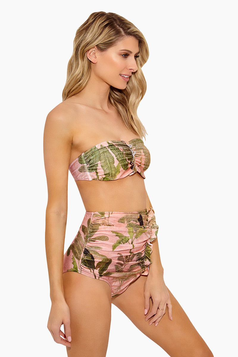 ADRIANA DEGREAS Toucan High Waisted Scrunch Bikini Bottom - Rose Salmon Bikini Bottom | Rose Salmon| Adriana Degreas Toucan High Waisted Scrunch Bikini Bottom - Rose Salmon Features:  High waisted bikini bottom Scrunch with little ruffle detail at front  Tummy control Tropical print in rose salmon color Moderate to full coverage Side View