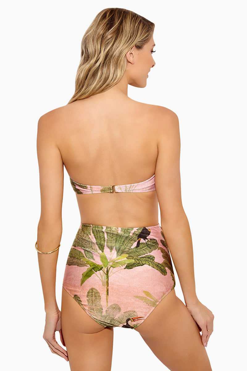 ADRIANA DEGREAS Toucan Strapless Bikini Top - Rose Salmon Bikini Top | Rose Salmon|Adriana Degreas Toucan Strapless Bikini Top - Rose Salmon Features:  Bandeau bikini top Strapless Scrunch with little ruffle detail at front  Tropical print in rose salmon color Back View