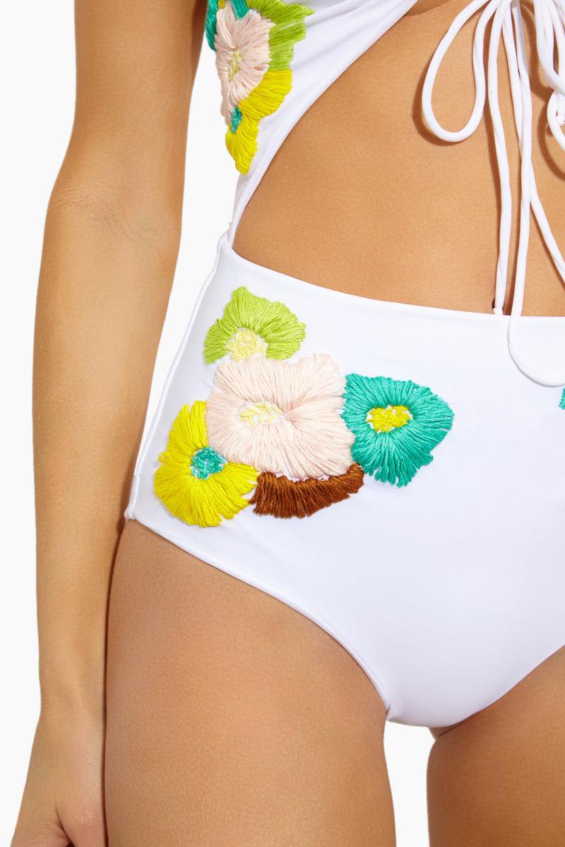 LOLLI Smitten Cut Out One Piece Swimsuit - Blooms White One Piece | Blooms White| Lolli Smitten Cut Out One Piece Swimsuit Detail View