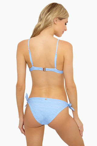 LOLLI Lane Triangle Front Knot Bikini Top - Blue Bikini Top | Blue| Lolli Lane Triangle Knot Bikini Top Back View