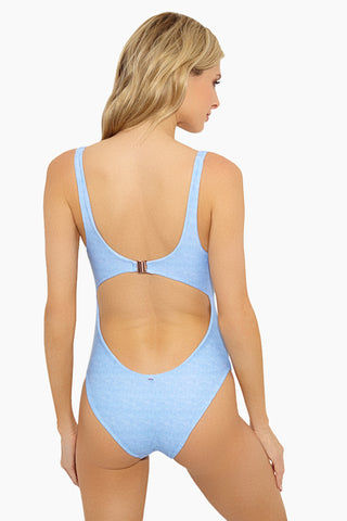 LOLLI Baby Baby Tank One Piece Swimsuit - Blue One Piece | Blue| Lolli Baby Baby Tank One Piece Swimsuit Back View
