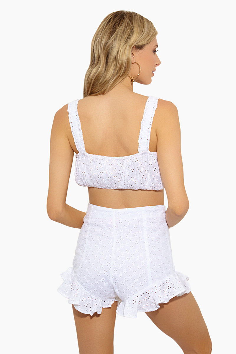 LOLLI Ruth Puffy Eyelet Bandeau Crop Top - Doile Top | Doile| Lolli Ruth Puffy Crop Bikini Top Back View