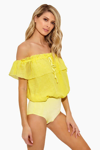 295a49a4823 ... NESSI BYRD Pam Strapless Flounce Silk One Piece Swimsuit - Yellow One  Piece | Yellow| ...