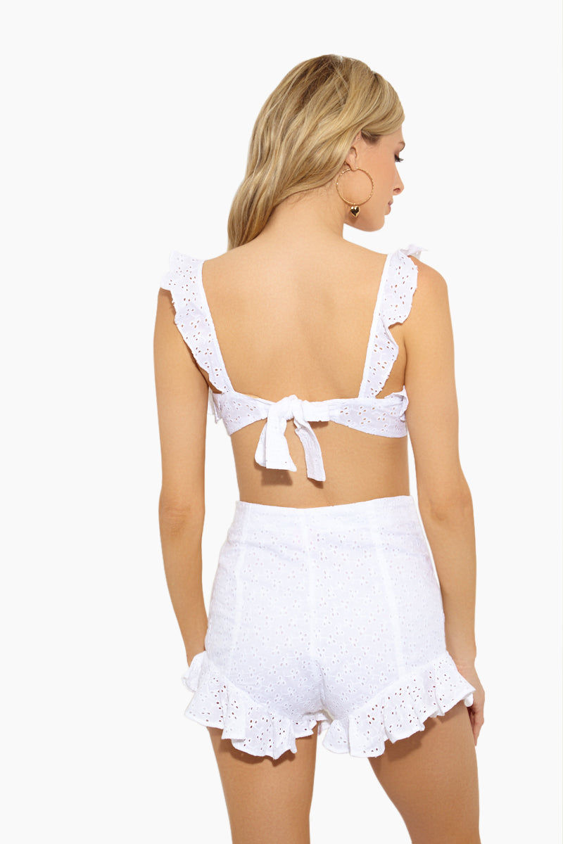 LOLLI Baby Bralette Ruffle Cropped Top - Doile Bikini Top | Doile| Lolli Baby Bralette Ruffle Bikini Top Back View