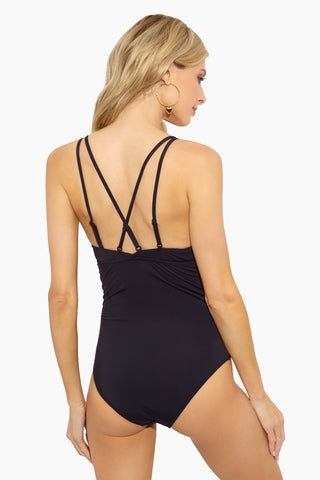 EVERYDAY SUNDAY Lace Up One Piece Swimsuit - Black One Piece | Black | Everyday Sunday Lace Up One Piece Swimsuit - Black V Neckline Cut outs with lace up crisscross detail  Adjustable straps Crisscross back detail  Full Coverage  Back View