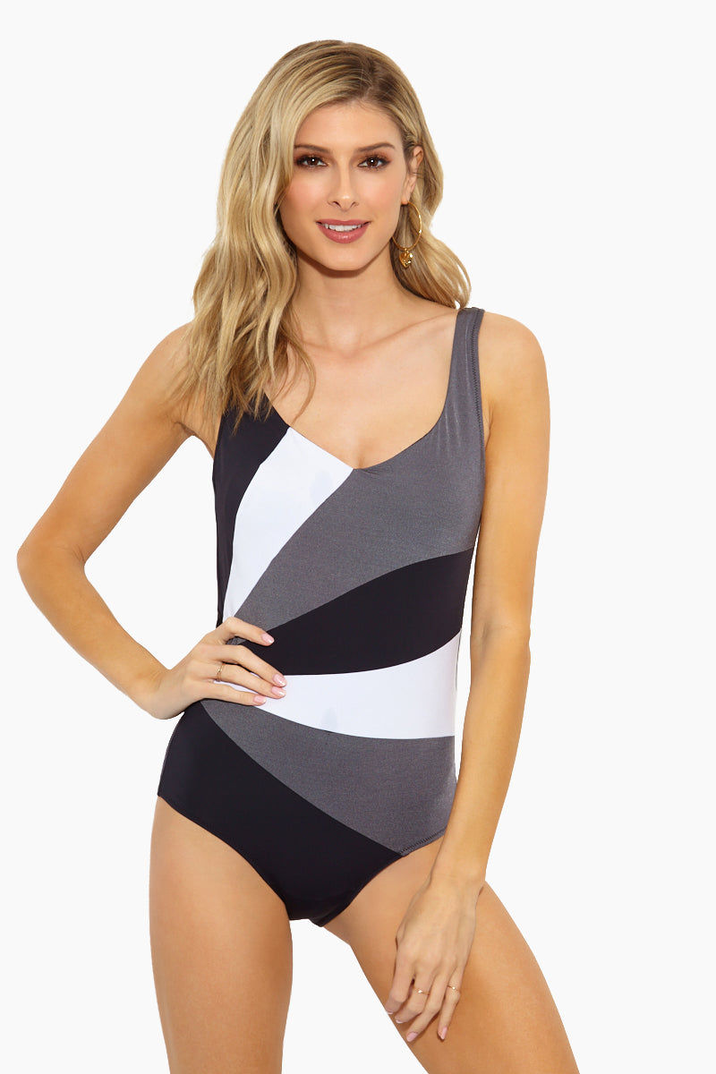 EVERYDAY SUNDAY Stripes One Piece Swimsuit - Black/White One Piece | Black/ White| Everyday Sunday Stripes One Piece Swimsuit - Black/White Scoop neckline Thick shoulder straps Plunging V back Full coverage bottom Stripes print Front View