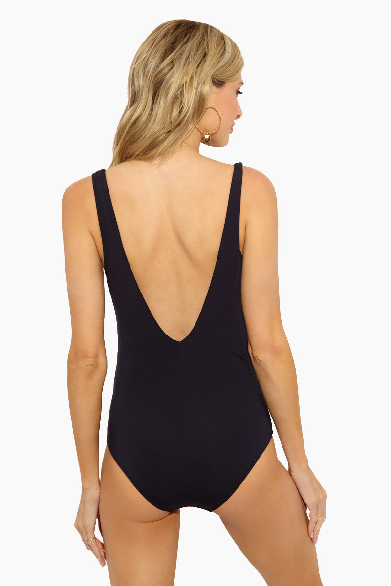 EVERYDAY SUNDAY Stripes One Piece Swimsuit - Black/White One Piece | Black/ White| Everyday Sunday Stripes One Piece Swimsuit - Black/White Scoop neckline Thick shoulder straps Plunging V back Full coverage bottom Stripes print Back View