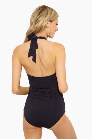EVERYDAY SUNDAY Convertible One Piece Swimsuit - Black One Piece | Black |Everyday Sunday Convertible One Piece Swimsuit - Black Sweetheart neckline Convertible straps Mid scoop back Full coverage Back View