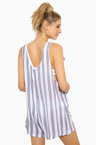 EVERYDAY SUNDAY Romper With D-Ring - Combo Alloy Stripe Romper | Combo Alloy Stripe| Everyday Sunday Romper With D-Ring - Combo Alloy Stripe Romper Scoop Neckline  Thick Shoulder Straps  Adjustable D-Ring Straps Front Pocket Detail  Back View