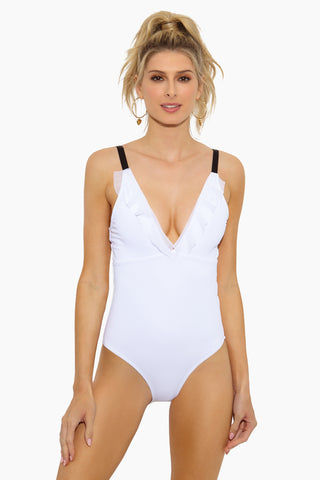 BETH RICHARDS Slip One Piece Swimsuit - White One Piece | White |Slip One Piece Swimsuit - Features: v neck ruffle lined stretch fabric resistant to oils, lotions made in canada cheeky coverage
