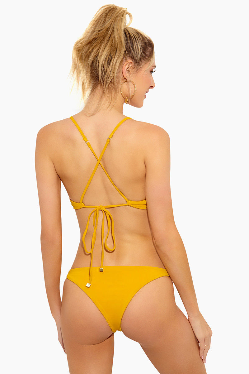 FELLA William Shakespeare Top - Mustard Bikini Top   Mustard William Shakespeare Top - Features:  Sporty Top  Thin Spaghetti Straps Criss Cross Back Ties at Center Back