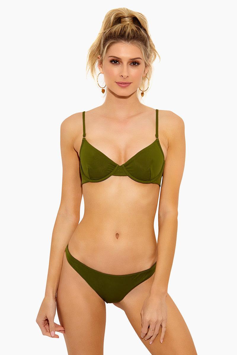 FELLA Brad Underwire Bikini Top - Olive Bikini Top | Olive| Fella Brad Top - Olive Bra Style Bikini Top  Thin straps Underwire for extra support Back clasp