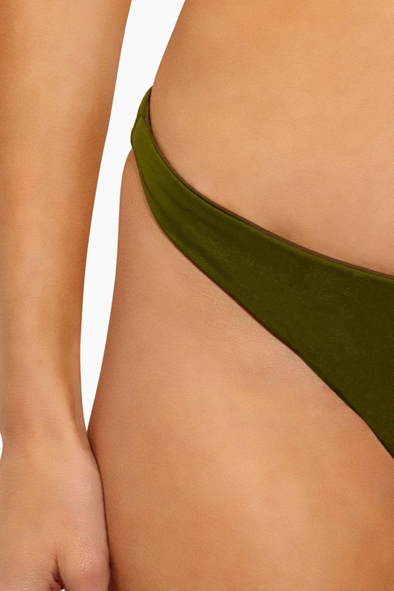 FELLA Jasper Bottom - Olive Bikini Bottom   Olive Jasper Bottom - Features:  Low Cut Bottom Thin Side Straps  Cheeky Coverage