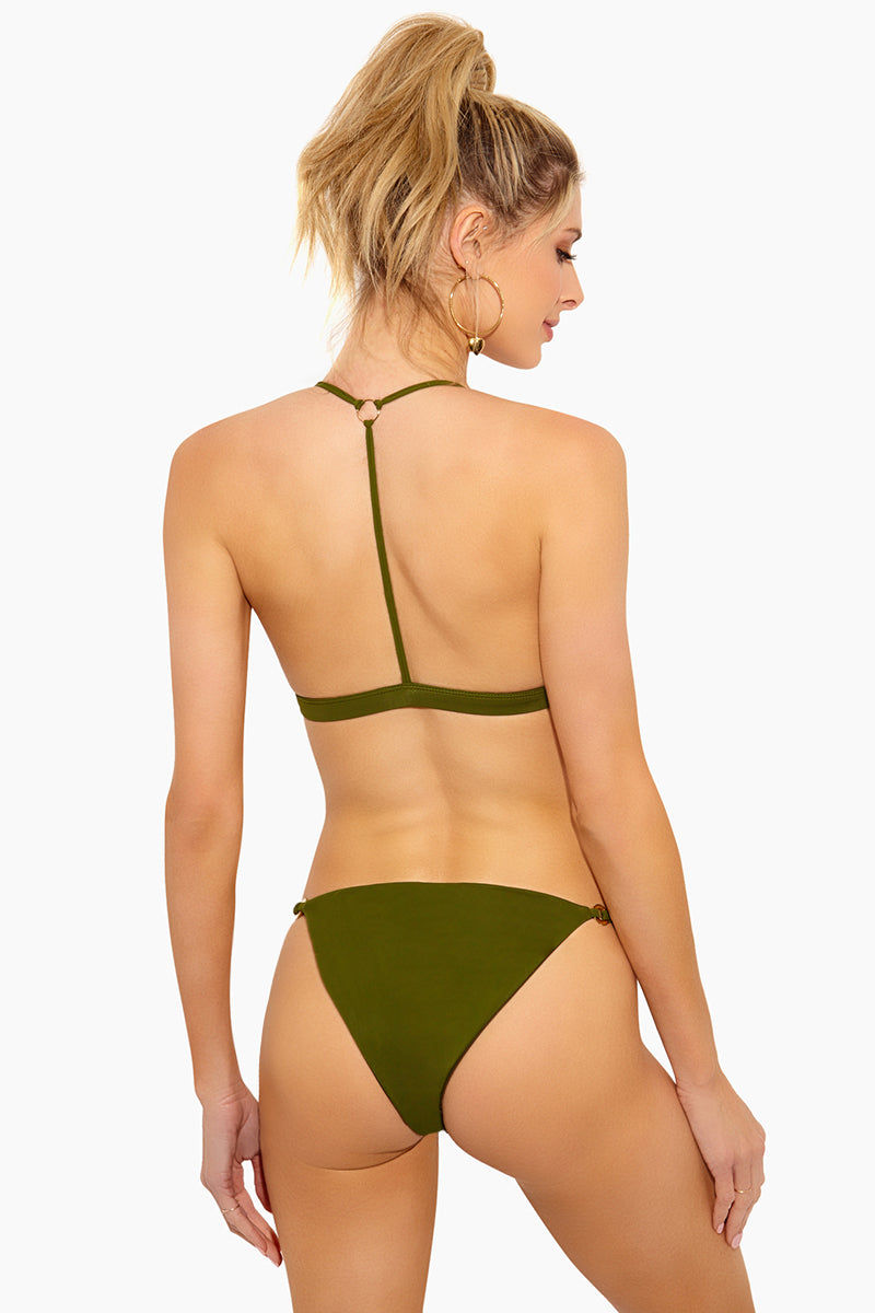 FELLA Xavier Double String Cheeky Bikini Bottom - Olive Bikini Bottom | Olive | Fella Xavier Bottom - Olive Features:  Double string cheeky bottom Disc rings at front Front ruching Italian Lycra
