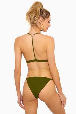 FELLA Louis The II Top - Olive Bikini Top | Olive | Fella Louis The II Top - Olive Belted olive green triangle bikini top with double-strap T-back. Fixed double straps connect behind shoulders with silver tone ring then run straight down the center of the back and connect to band.