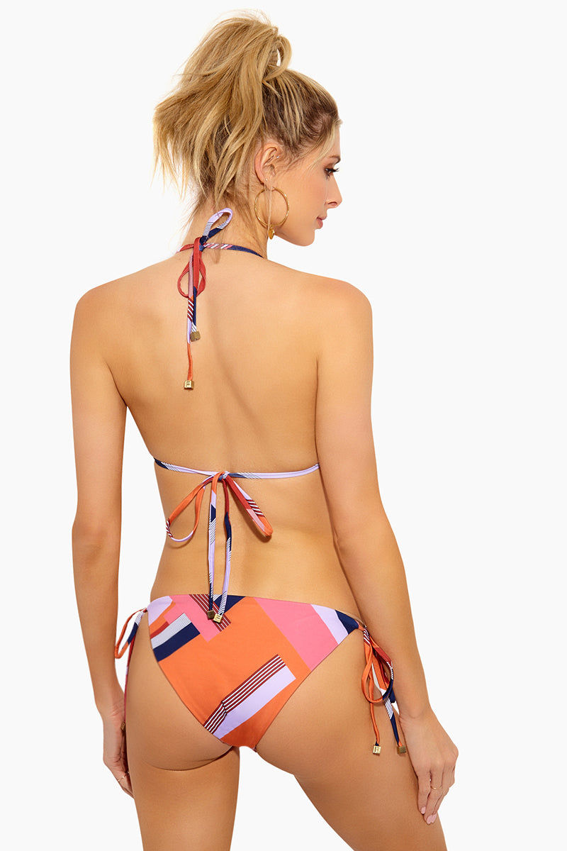 FELLA Carlo Adjustable Halter Neck Tie Bikini Top - Scarf Print Bikini Top   Scarf Print  Fella Carlo Top - Scarf Print Classic triangle top  Signature FELLA disc ring hardware  Adjustable halter neck tie  Center back tie  Metal square beads at the ends of strings