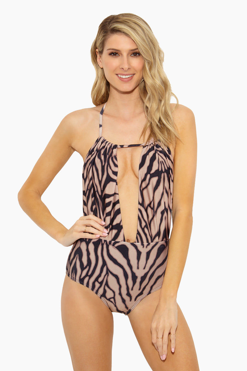 ROSA CHA Hamptons Deep Neckline One Piece Swimsuit - Tiger Print One Piece   63954c7d83df