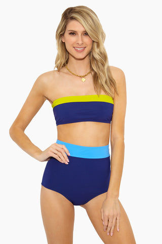 FLAGPOLE Arden High Waist Bottom - Shore Blue/Plunge Navy Bikini Bottom | Shore Blue/Plunge Navy| Flagpole Arden High Waist Bottom - Shore Blue/Plunge Navy Flatlay View Color Block High Waisted Mid Rise Leg Moderate Coverage Made from performance grade Italian stretch fabric