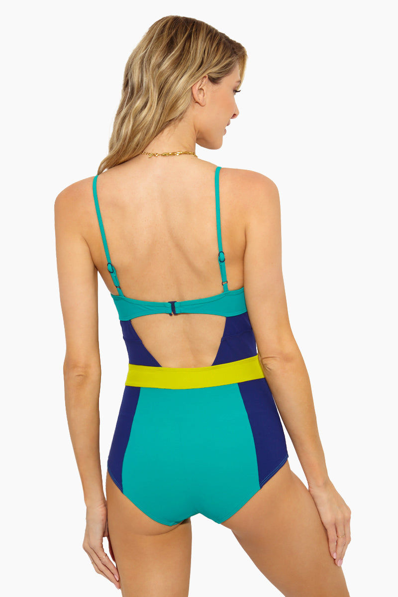 FLAGPOLE Joellen One Piece - Key Lime/Sea Green/Navy One Piece | Key Lime/Sea Green/Navy| Flagpole Joellen One Piece - Key Lime/Sea Green/Navy Flatlay View  V Neckline Open Front & Back Cut Out Rubber Coated G-Hook Closure Back  Adjustable Shoulder Straps Front & Back Lining  Mid Rise Leg  Colorblocking  Proudly made in NYC  Material: 72% polyamide 28%  elastane   Made from an Italian four-way stretch material that is anti-pill, anti-bacterial, chlorine resistant and quick-drying, it's perfect for being active in and out of the water