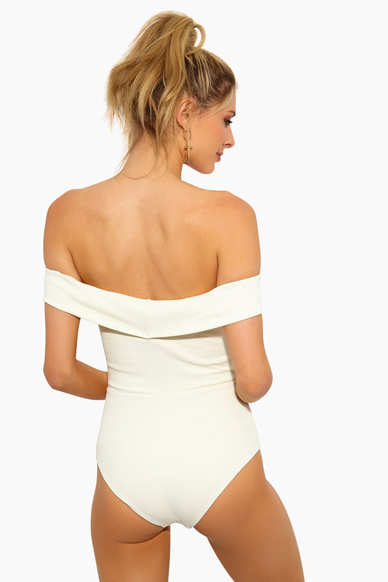 L SPACE Anja Off Shoulder One Piece Swimsuit - Cream One Piece | Cream | L Space Anja Off Shoulder One Piece Swimsuit - Cream Off-the-shoulder one piece Plunging neckline Adjustable lace-up front Classic coverage 80% poly, 20% spandex Made in USA Back View