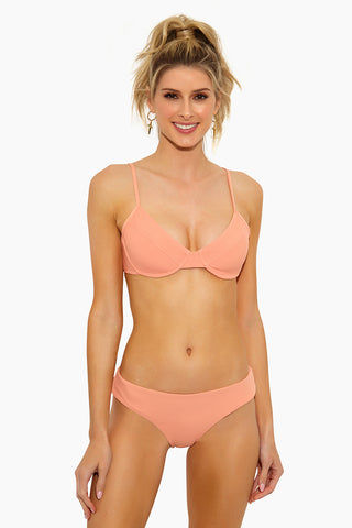L SPACE Pixie Hipster Bikini Bottom - Tropical Peach Bikini Bottom | Tropical Peach| L Space Pixie Hipster Bikini Bottom - Tropical Peach Hipster Fit  Cheeky Coverage  80% nylon, 20% spandex.  Front View