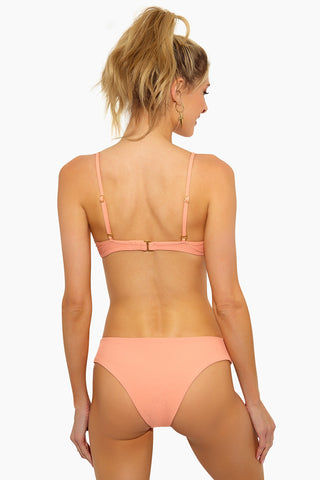 L SPACE Pixie Hipster Bikini Bottom - Tropical Peach Bikini Bottom | Tropical Peach| L Space Pixie Hipster Bikini Bottom - Tropical Peach Hipster Fit  Cheeky Coverage  80% nylon, 20% spandex.  Back View