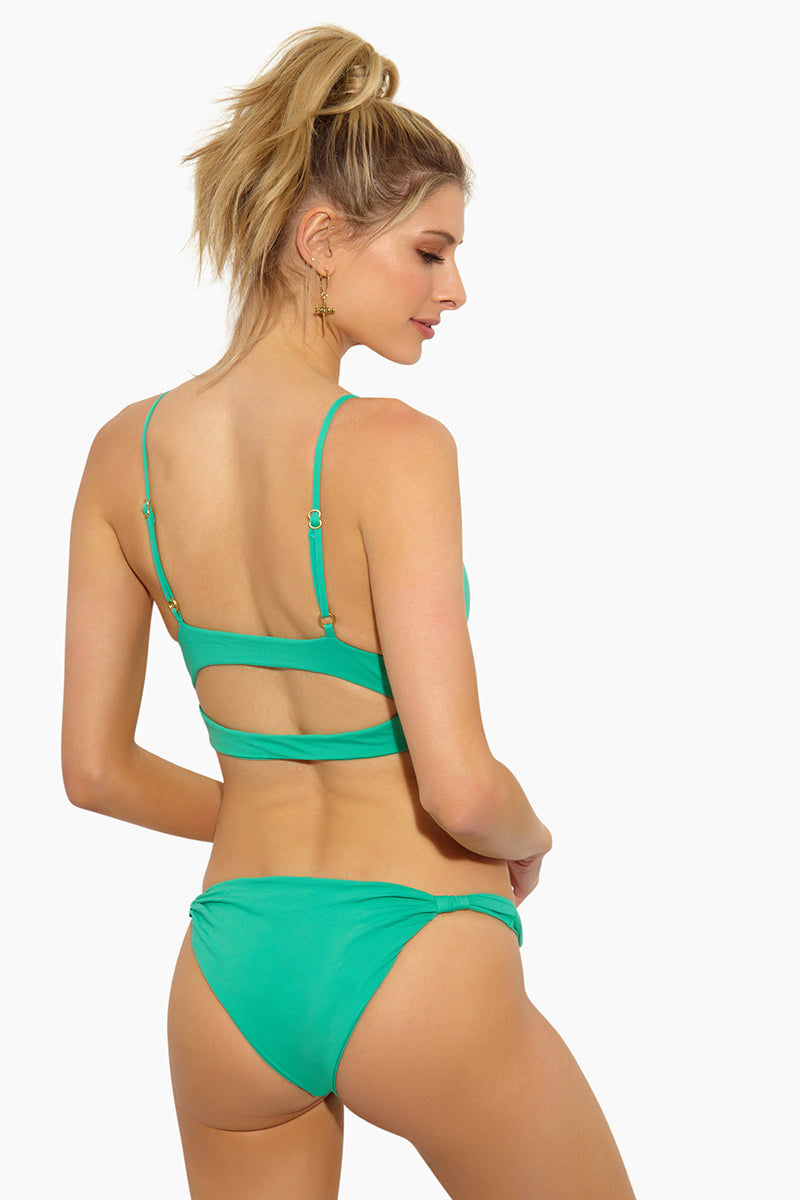 L SPACE Sundrop Sliding Tabs Bikini Bottom - Spearmint Bikini Bottom | Spearmint| L Space Sundrop Sliding Tabs Bikini Bottom - Spearmint Low Rise Thin Side Straps with Sliding Side Tabs  Cheeky Coverage  Back View