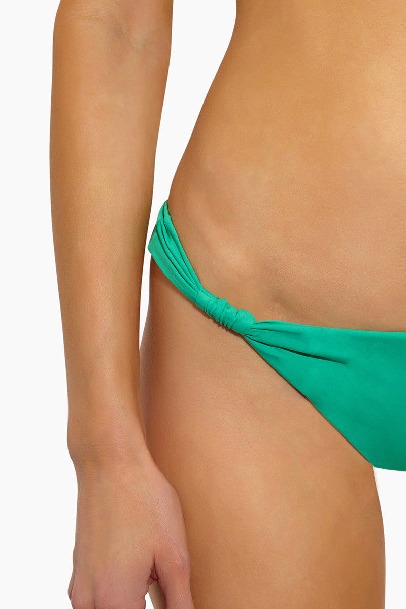L SPACE Sundrop Sliding Tabs Bikini Bottom - Spearmint Bikini Bottom | Spearmint| L Space Sundrop Sliding Tabs Bikini Bottom - Spearmint Low Rise Thin Side Straps with Sliding Side Tabs  Cheeky Coverage  Close Up View