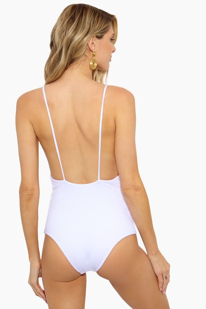 AILA BLUE Midnight In Paris Deep V One Piece - White Paisley One Piece | White Paisley| Aila Blue Midnight In Paris Deep V One Piece - White Paisley. Front View. Midnight In Paris Deep V One Piece - Paisley / White Paisley