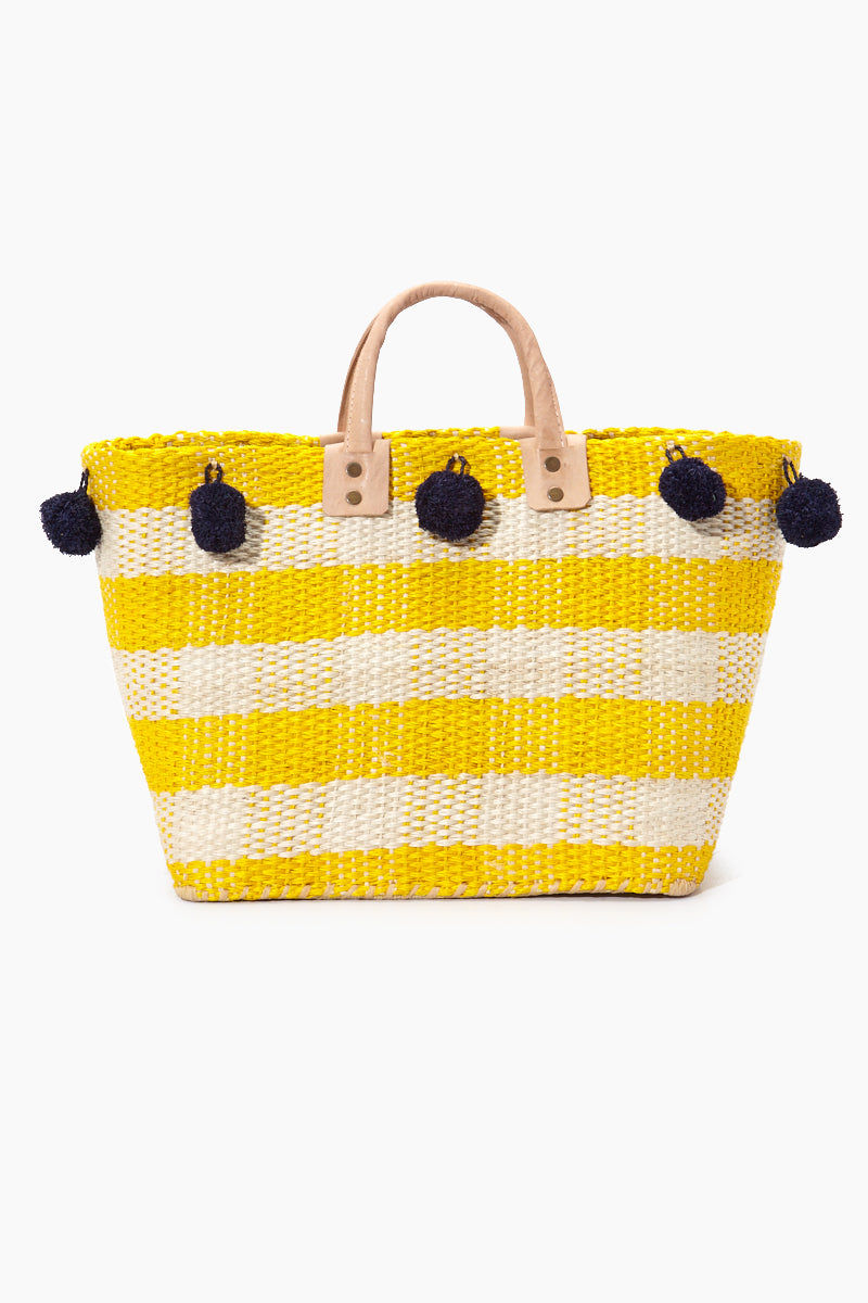 MAR Y SOL Pompei Woven Raffia Gingham Tote W/ Poms And Leather Handles - Sunflower Bag | Sunflower| MAR Y SOL Pompei Woven Raffia Gingham Tote W/ Poms And Leather Handles Front View