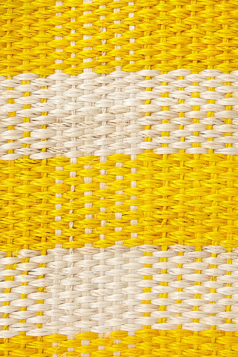MAR Y SOL Pompei Woven Raffia Gingham Tote W/ Poms And Leather Handles - Sunflower Bag | Sunflower| MAR Y SOL Pompei Woven Raffia Gingham Tote W/ Poms And Leather Handles Detail View