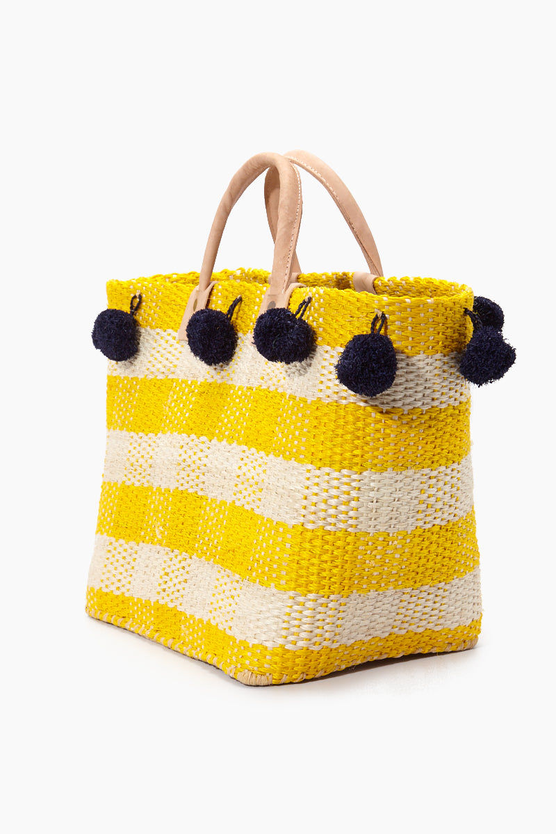 MAR Y SOL Pompei Woven Raffia Gingham Tote W/ Poms And Leather Handles - Sunflower Bag | Sunflower| MAR Y SOL Pompei Woven Raffia Gingham Tote W/ Poms And Leather Handles Side View