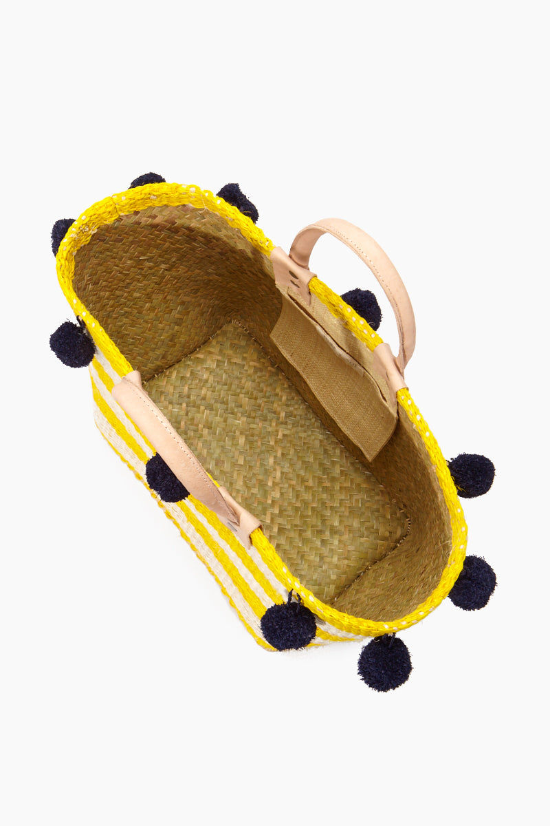 MAR Y SOL Pompei Woven Raffia Gingham Tote W/ Poms And Leather Handles - Sunflower Bag | Sunflower| MAR Y SOL Pompei Woven Raffia Gingham Tote W/ Poms And Leather Handles Open View