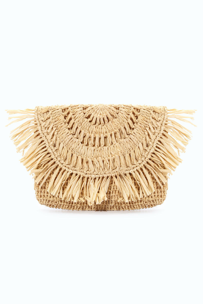 MAR Y SOL Mia Crocheted Raffia Fringe Pouches With Cotton Lining & Snap Closure - Natural Bag | Natural| MAR Y SOL Mia Crocheted Raffia Fringe Pouches With Cotton Lining & Snap Closure Front View