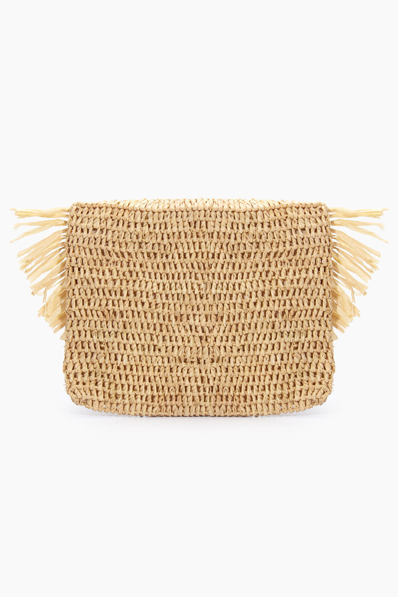 MAR Y SOL Mia Crocheted Raffia Fringe Pouches With Cotton Lining & Snap Closure - Natural Bag | Natural| MAR Y SOL Mia Crocheted Raffia Fringe Pouches With Cotton Lining & Snap Closure Back View