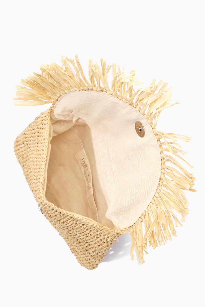 MAR Y SOL Mia Crocheted Raffia Fringe Pouches With Cotton Lining & Snap Closure - Natural Bag | Natural| MAR Y SOL Mia Crocheted Raffia Fringe Pouches With Cotton Lining & Snap Closure Open View
