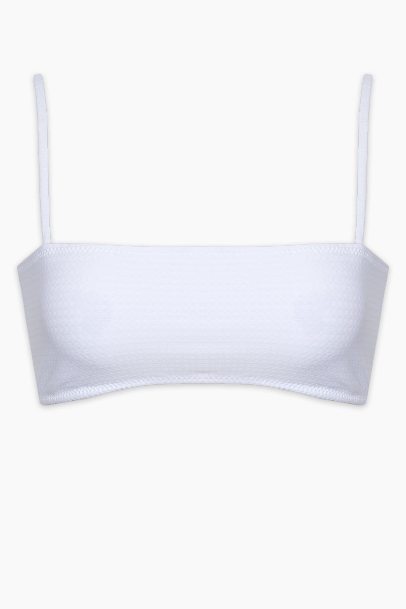 ELLEJAY Lauren Bandeau Bikini Top - White Bikini Top   White  Ellejay Lauren Bandeau Bikini Top - White Bandeau style Thin straps Adjustable straps White top Flatlay View
