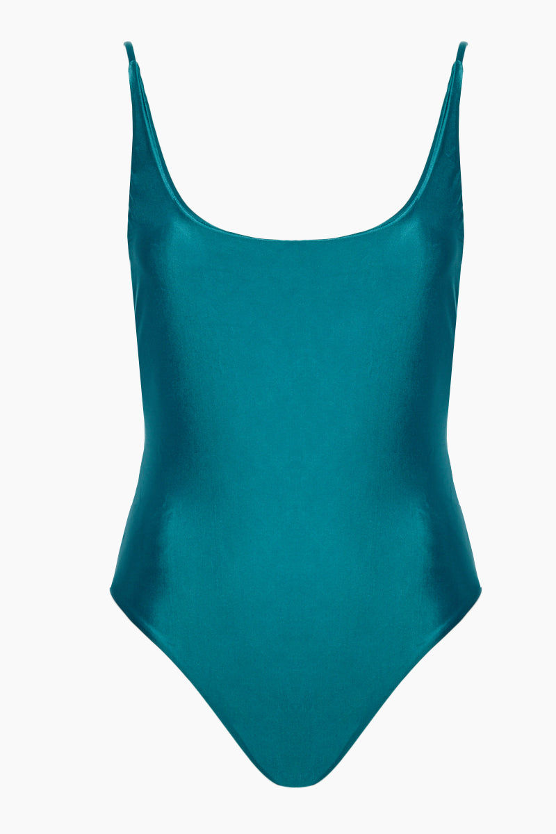 HAIGHT Thin Strap Maillot One Piece Swimsuit - Blue Topaz One Piece | Blue Topaz|Thin Strap One Piece Swimsuit - Features: Scoop neck Slim shoulder straps Deep scoop back Mid cut leg Moderate coverage Stretch fabric lining