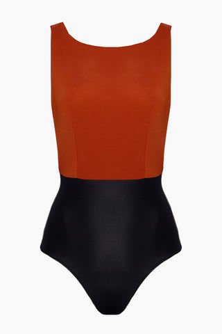 HAIGHT Side Slit Maillot One Piece Swimsuit - Rust & Black One Piece | Rust & Black| Haight Side Slit Maillot One Piece Swimsuit - Rust & Black Features: Crew Neck One Piece Deep sides Detail Scoop Back Thick Back Straps Low Cut Leg Moderate Coverage  Flatlay View