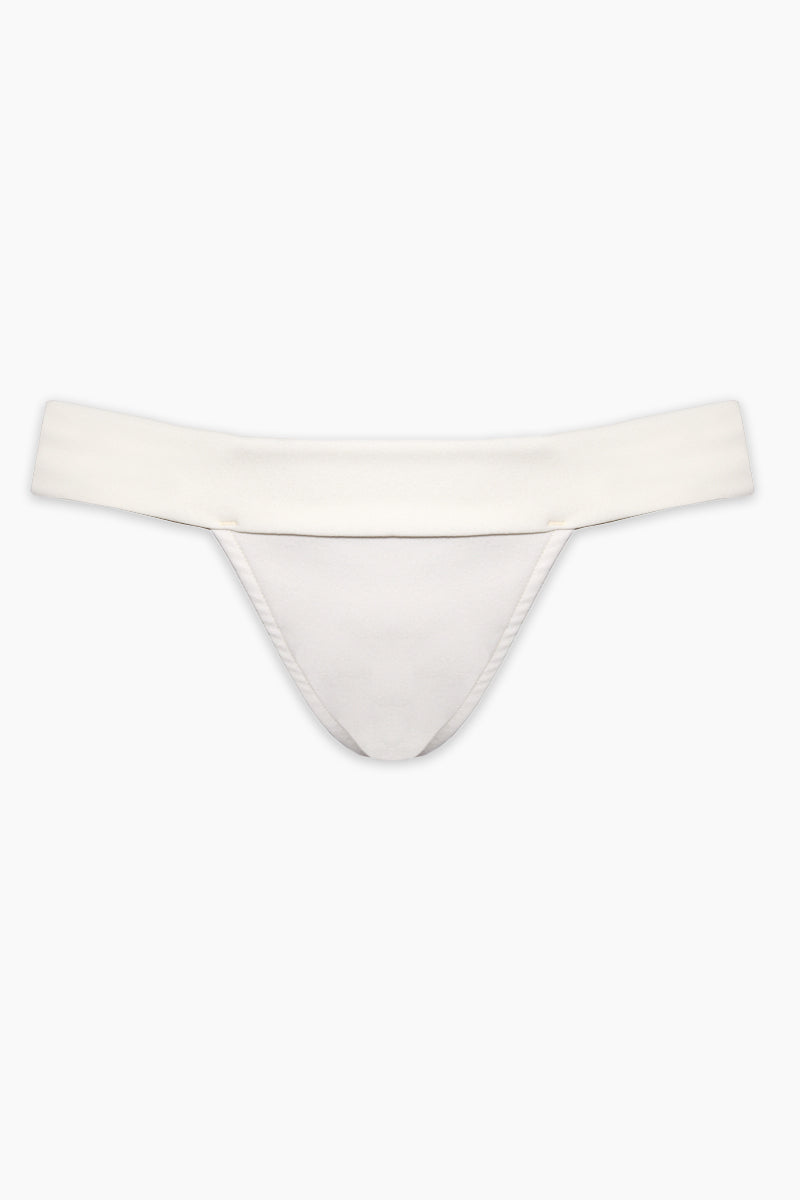 HAIGHT Maria Low-Rise Bikini Bottom - Off-White Bikini Bottom | Off-White| Haight Maria Low Rise Bikini Bottom - Off-White Features:  Low rise briefs Slight cheeky coverage Fits small to size Slips on Flatlay View
